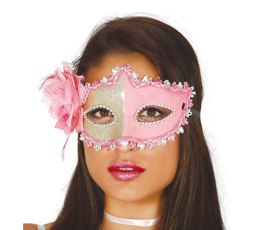 Antifaz color rosa con flor rosa disfrazzes disfraces for Disfraces antifaz