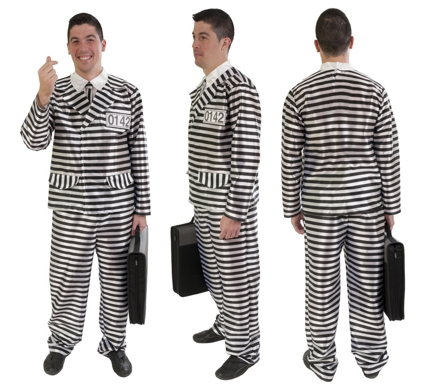 Disfraz de ejecutivo presidiario para hombre en varias tallas