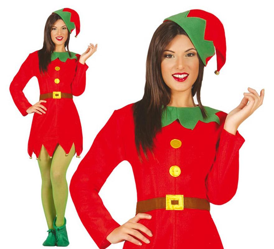 Disfraz de elfa verde y rojo para mujer en varias tallas - Disfraces duendes navidenos ...