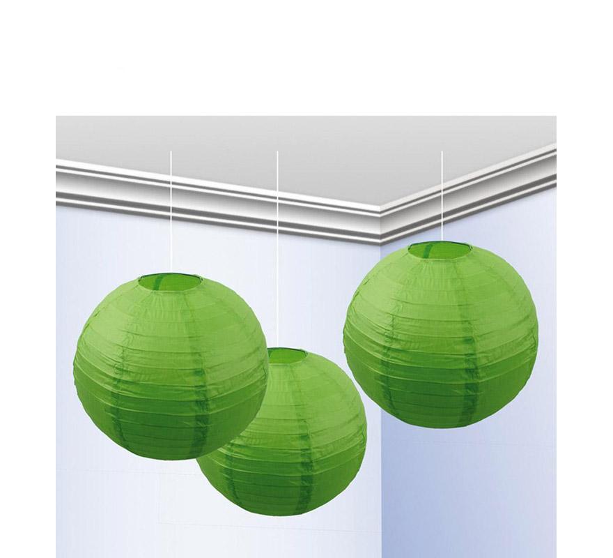 Bolsa de 3 faroles de 25 cm de color verde pistacho