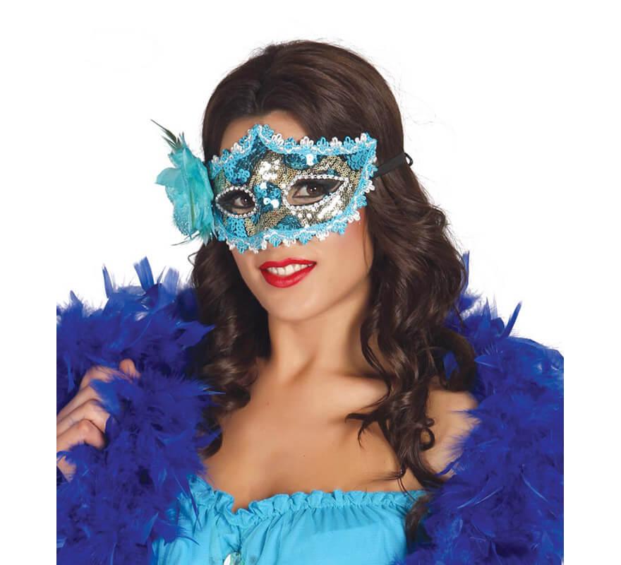 Antifaz veneciano azul con flor disfrazzes tienda de for Disfraces antifaz