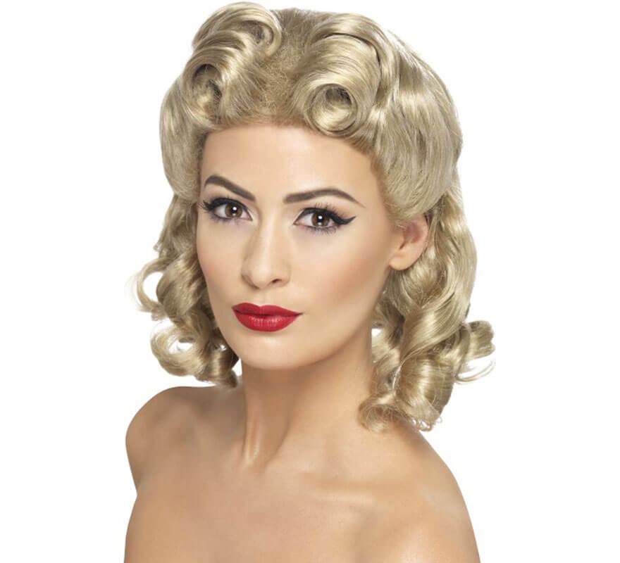 Perruque blonde de pin up des ann es 40 avec des boucles - Pin up annee 40 ...