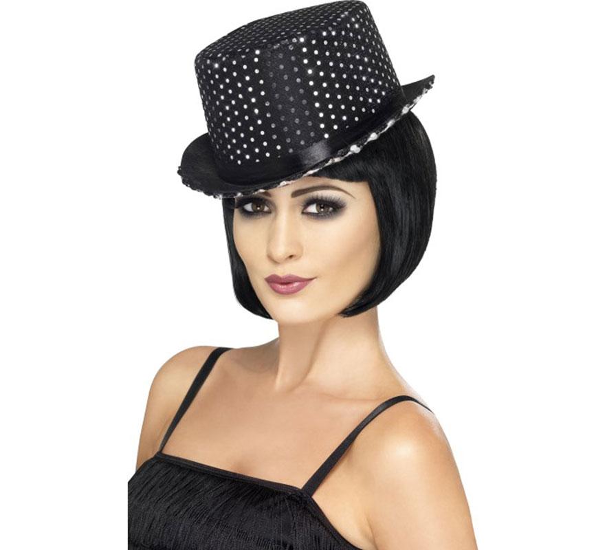 Sombrero de Mujer G�nster Negro con Lentejuelas | DISFRAZZES ...