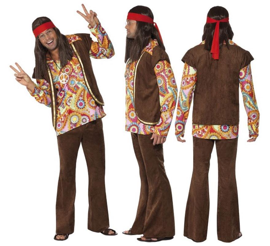 D guisement hippie ann e 70 marron pour homme taille l - Hippie annee 70 ...
