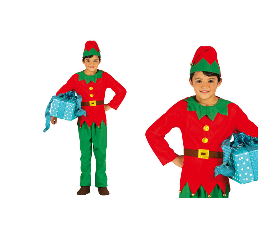 Disfraz de elfo verde y rojo para ni os en varias tallas - Disfraces duendes navidenos ...