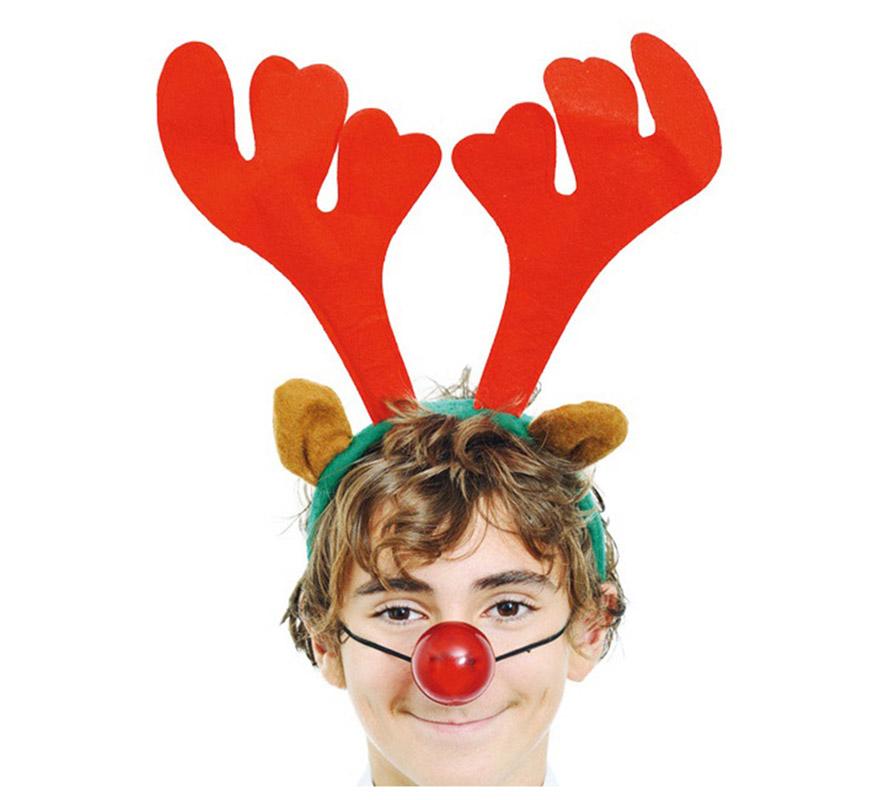 Diadema cuernos de ciervo o reno con luz navidad - Renos de navidad con luces ...