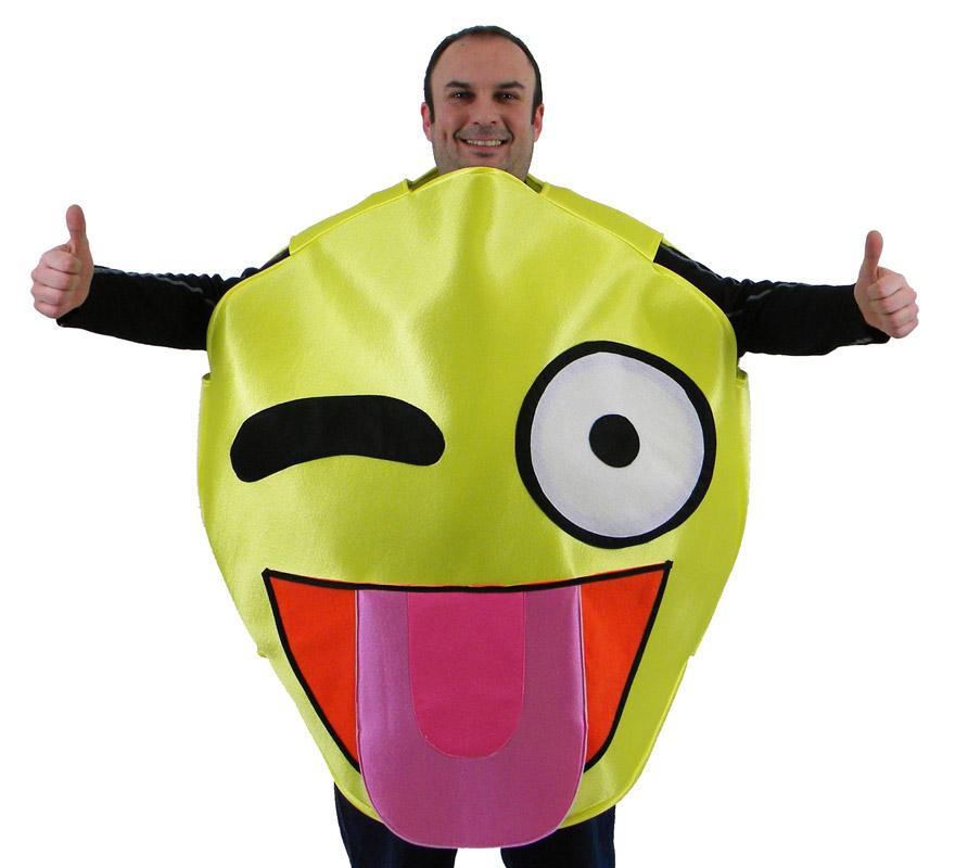 Disfraz de Emoticono Guiño con Lengua amarillo para adultos