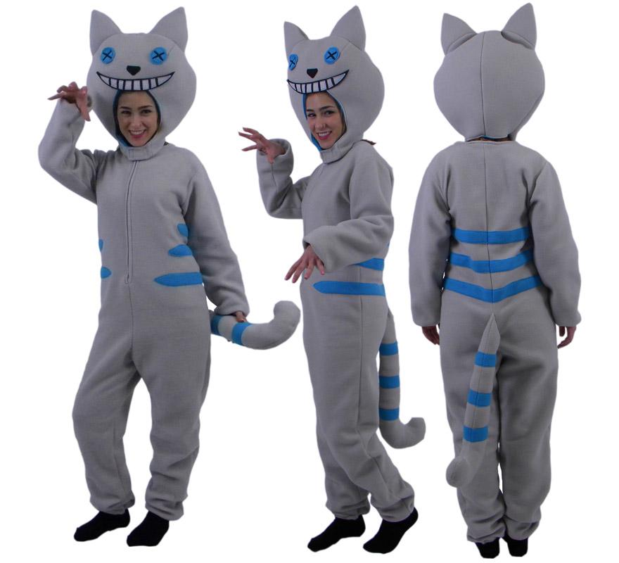 de Gato Sonrisa gris y azul para adultos | Disfrazzes | Tienda de