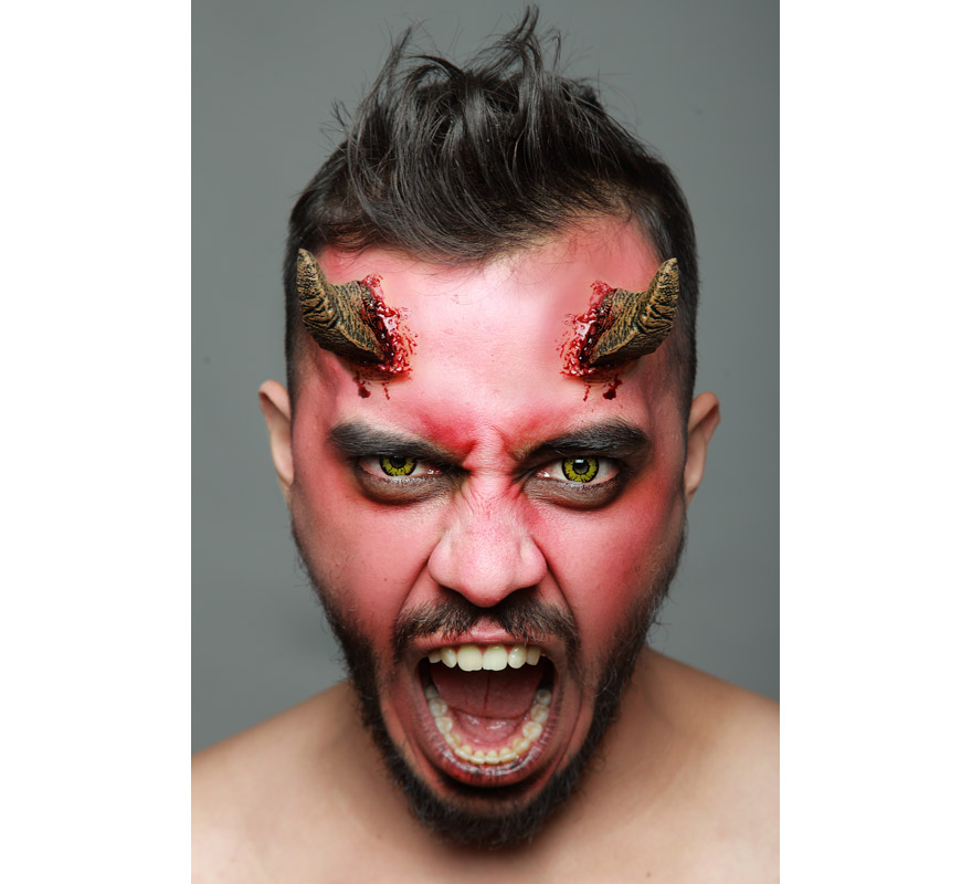 Maquillage cornes de d mon fx en latex pour halloween zzcostumes d guisements originaux - Maquillage latex halloween ...