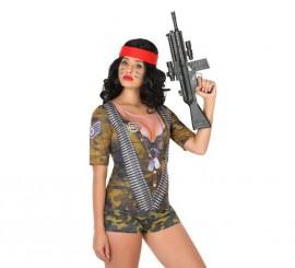 Camiseta disfraz de Soldado Camuflaje para mujer