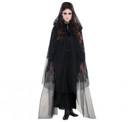 Capa gótica de encaje negra con capucha
