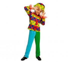 Disfraz de Arlequín multicolor para niño