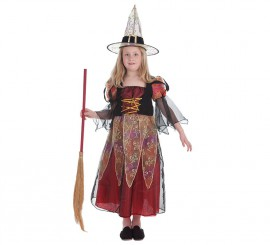 Disfraz de Bruja burdeos para niña