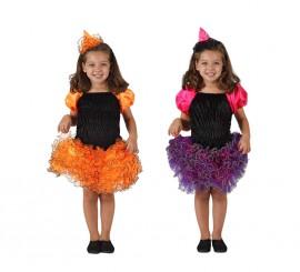 Disfraz de Bruja con falda volantes para niña en 2 colores y varias tallas