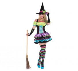 Disfraz de Bruja neón para mujer en varias tallas para Halloween