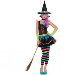 Disfraz de Bruja neón para niñas y adolescentes en varias tallas Halloween