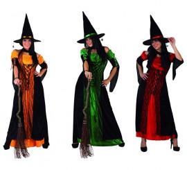 Disfraz de Bruja para mujer en 3 colores y varias tallas para Halloween