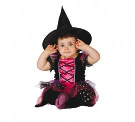 Disfraz de Brujita Baby rosa y negro