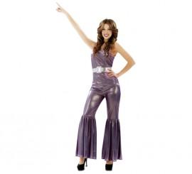 Disfraz de Chica de la Disco morado metalizado para mujer