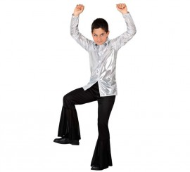 Disfraz de Disco plata brillante para niño