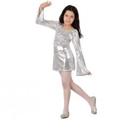 Disfraz de Disco plata brillante para niña