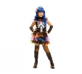 Disfraz de Esqueleto Arco Iris para niñas en varias tallas para Halloween