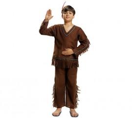 Disfraz de Indio marrón con flecos para niño