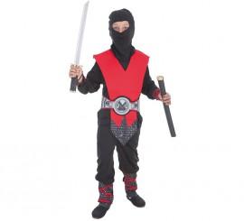 Disfraz de Ninja rojo y gris para niño