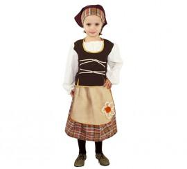 Disfraz de Pastora ocre rústico para niña exclusivo de Disfrazzes
