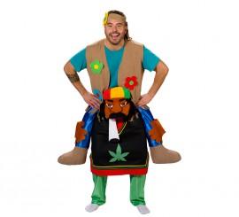 Disfraz de Rastafari cargando a Hippie para adultos