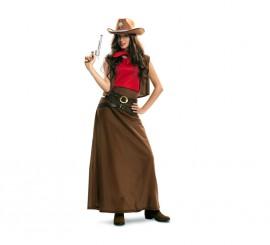Disfraz de Vaquera con falda marrón para mujer
