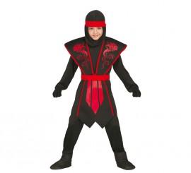 Disfraz Shadow Ninja Negro y Rojo para Niños en varias tallas