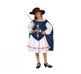 Disfraz de Mosquetera Azul para niñas