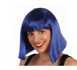 Peluca Azul media melena con flequillo