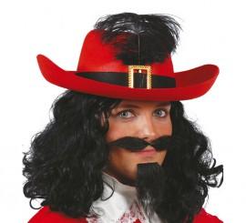 Sombrero de fieltro Mosquetero rojo