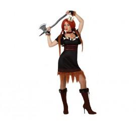 Disfraz de Vikinga marrón para mujer
