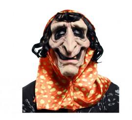 Máscara de Bruja Vieja de látex con capucha y pelo