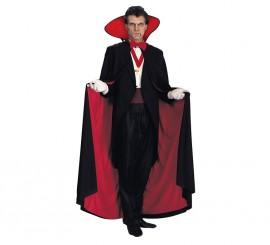Capa larga negra con forro rojo para Halloween