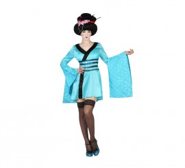 Disfraz de Geisha azul para mujer en varias tallas