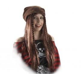 Pañuelo Pirata con trenzas marrón