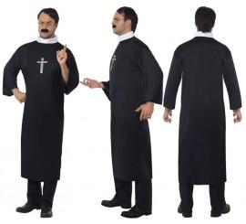 Disfraz de Cura Católico color Negro para Hombre