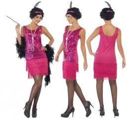 Disfraz de Flapper Locos años 20 Rosa para Mujer
