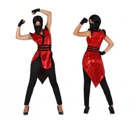 Disfraz de Ninja rojo y negro sexy para mujer varias tallas