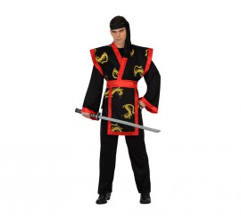 Disfraz de Samurai Dragón rojo y negro para hombre en varias tallas