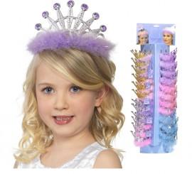 Tiara de Princesa Infantil con Marabú en colores surtidos