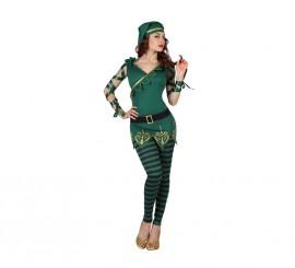 Disfraz de Duende verde de rayas para mujer en varias tallas