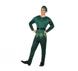 Disfraz de Duende verde de rayas para hombre en varias tallas