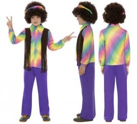 Disfraz de Hippy Multicolor para Niño en varias tallas