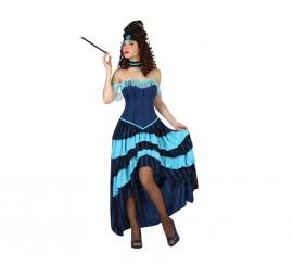 Disfraz de Cabaretera azul para mujer