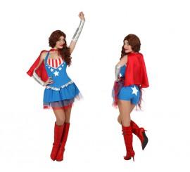 Disfraz de Superheroína sexy con capa para mujer en varias tallas